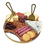 Magnetic Cheeseboard with Serving Utensils by Choosy Chef  Charcuterie Board. Includes a Guide to Best Wine & Cheese Pairings (10 Inch, Brushed Gold)