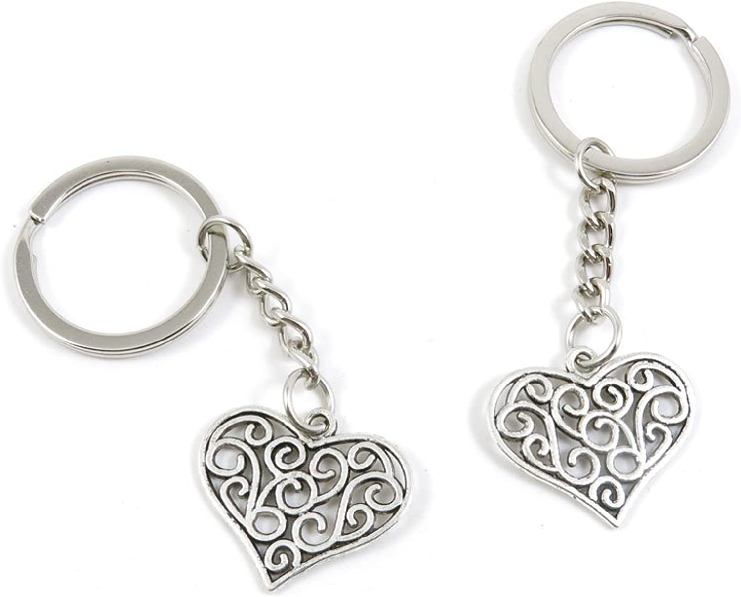 100 Pieces Keychain Keyring Door Car Key Chain Ring Tag Charms Bulk Supply Jewelry Making Clasp Findings C5QP0X Hollow Heart Signs