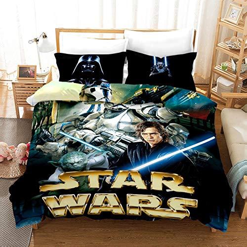 NO-BRAND Star Wars 3D Juego de ropa de cama de tres piezas, funda nórdica de fibra de poliéster de alta densidad, funda nórdica en tamaño completo (A04,150 x 200 cm)