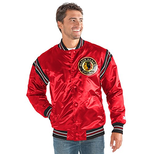 STARTER Adult Men The Enforcer Retro Satin Jacket NHL Chicago Blackhawks, Red, Medium