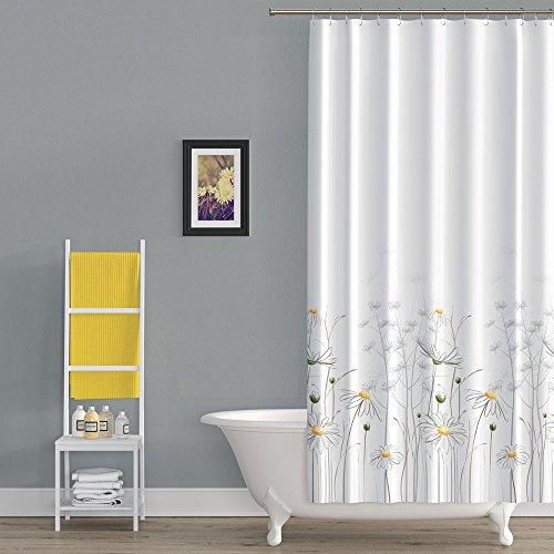 Ekershop Duschvorhang aus Stoff Daisy GÄNSEBLÜMCHEN Textil Duschvorhang in der Größe 120 cm Breit x 200 cm Hoch inkl. Ringe