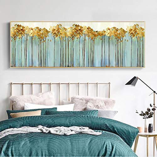 Pósters e impresiones de color turquesa para pared, pintura abstracta de árboles dorados para decoración de sala de estar, 50 x 150 cm, sin marco
