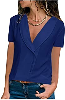 Doufine Womens V Neck T-Shirt Chiffon Loose Short Sleeve Casual Blouse Top