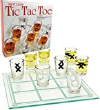 """Matty's Toy Stop Tic-Tac-Toe, Three in A Row Shot Glass Drinking Game with 9 Shot Glasses and Glass Game Board (10"""" x 10"""")"""