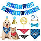 Dog Birthday Bandana Hat Banner Set, Norbase Washable Triangle Pet Scarfs and Cute Pet Bow Tie for Small and Medium Pet Cats Party Supplies Birthday Decorations (Blue)