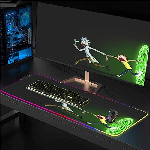 RGB Extended Gaming Mouse Pad for Rick Sanchez, Non-Slip Rubber Base,Waterproof,Smooth Gaming Surface,12 Lighting Modes,LED Soft Extended Mouse Mat,Desk pad,for Computer 11.8x31.5 inch