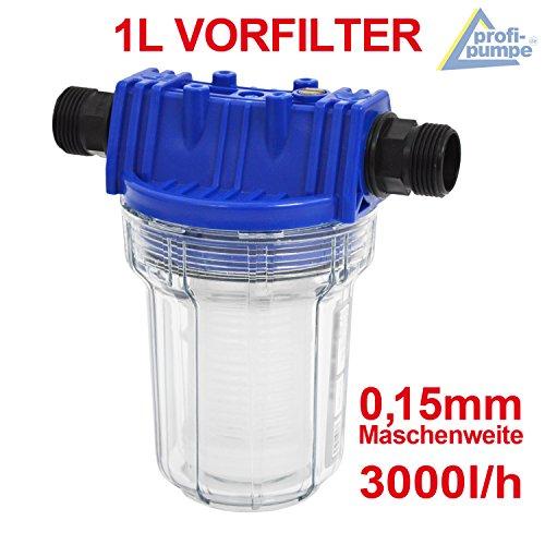 PREFILTRO PARA AGUA - PREFILTRO PARA BOMBAS DE AGUA 1000-1 para grupo de presión/bomba centrifuga/bomba para pozos 1L max. 3000L/h anchura de malla: 0,15mm