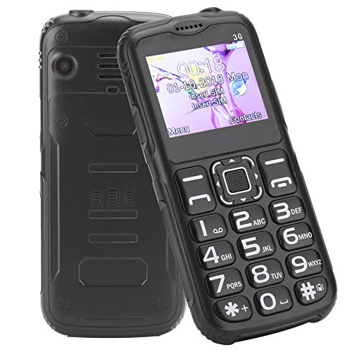 Teléfono móvil de Edad Avanzada, Botones Grandes y Teclado para Personas Mayores 3G de Alto Volumen Teléfono móvil Desbloqueado Linterna LED de una tecla Teléfono de Larga Espera(UE Negra)
