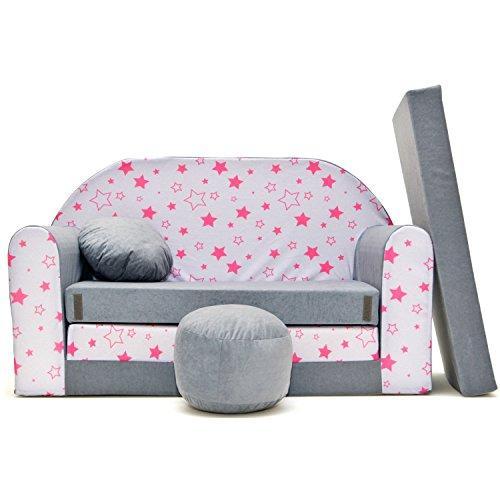 Couch Kindercouch Kindersofa Kinder Sofa Schlafsofa Kinderzimmer Bett gemütlich grau (grau)