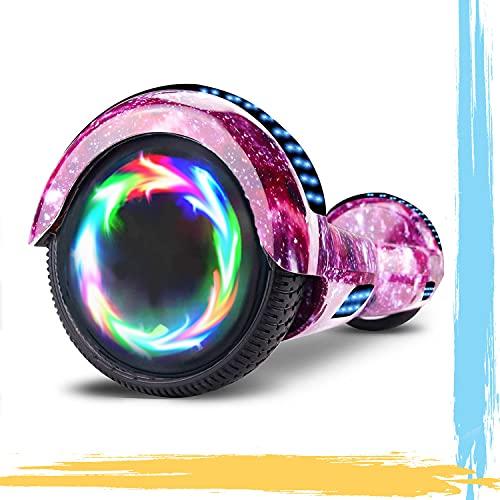 """MJK Hoverboard - 6,5"""" - Bluetooth - LED - Self Balancing Board Adulte - 700W - Smart Scooter Deux Roues - Skate Électrique Cadeaux Pas Cher-Adulte et Enfant-Ciel Violet"""