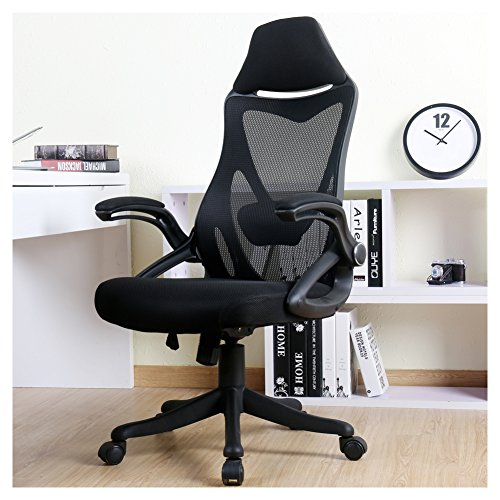 BERLMAN Ergonomic High Back with Adjustable Armrest Lumbar Support Headrest Swivel Task Desk Chair Computer Chair Guest Chairs Reception Chairs (Black)