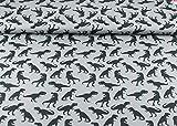 Steinbeck Baumwoll Jersey Stoff mit schwarzen Dinos auf