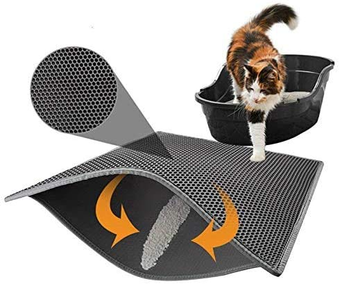 Alfombra de arena para gatos, bandeja de arena para gatos, alfombra de baño o pañal, accesorio de arena autolimpiante, raspador, color gris (40 x 50 cm)