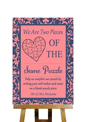 Puzzel Gastenboek Boodschap Koraal Roze & Blauw Collectie Gepersonaliseerde Bedrukte Kaart Bruiloft Teken Large A3