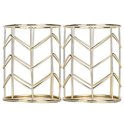 Galvanisieren Gold 2 Stück Hohlstifthalter für Haushaltswaren für Schreibtisch Büro