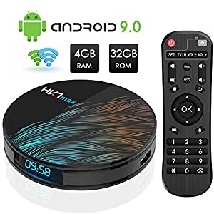 Android TV Box, HK1 MAX RK3318 Quad-Core Android 9.0 TV Box 4GB RAM/32GB ROM Soporte 2.4Ghz/5.0 GHz WiFi Bluetooth 4.0, 4K HDMI DLNA 3D Smart TV Box
