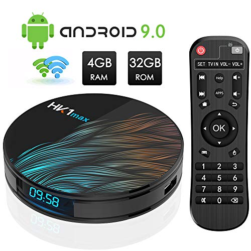Android TV Box, HK1 MAX RK3318 Quad-Core Android 9.0 TV Box 4GB RAM/32GB ROM Soporte 2.4Ghz/5.0 GHz WiFi Bluetooth 4.0, 4K HDMI DLNA 3D Smart TV Box