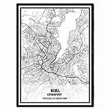Kiel Deutschland Karte Wandkunst Leinwand drucken Poster