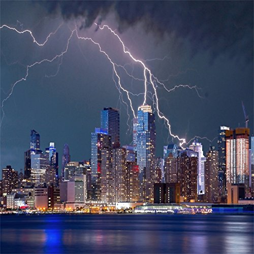 Leowefowa 5X5FT New York City Night View Backdrop Seaside Lightning Cityscape Backdrops for Photography Interior Wallpaper Polyester Photo Background Baby Wedding Studio Props