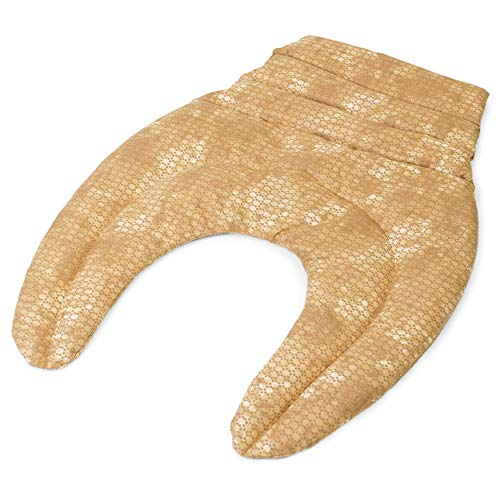 Cojín para el cuello con parte dorsale - Almohada térmica - Saco cervical térmico de semillas - Cojín caliente para la espalda - Semillas de colza (color: batik oro)