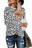 Aranmei Blusa de Mujer Camisa Estampado de Leopardo Cuello Redondo Manga Larga Camisetas de Gasa Tops (Leopardo 2 Blanco, Small)