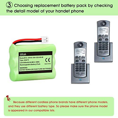 iMah 27910 Cordless Phone Battery Pack Compatible with AT&T 89-1323-00-0 Motorola SD-7501 Vtech 27910 I6725 RadioShack 23-959 Home Handset 3.6V Ni-MH, Pack of 2 Photo #7