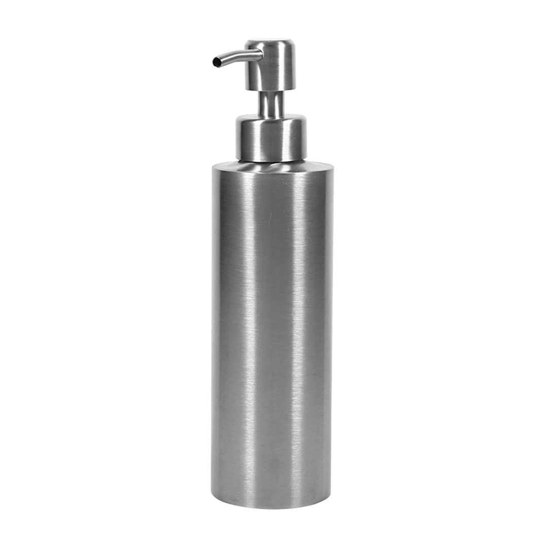 難しい庭園レイア304 ステンレス鋼 シンクソープディスペンサー シンク ソープ シャンプー用ディスペンサー 350ml 石鹸液 ハンドソープ 洗剤 メタル ボトル ポンプ付き キッチン、トイレに適用