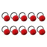 Kanggest 10 Piezas Niña Gomas de Pelo Bola de Azúcar sin Metal Suave Elástica Goma de Pelo Para Chica Adornos de Pelo Accesorios, Rojo