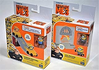 2 Sets Despicable Me 3 Cheese Festival & Jail Escape Minion Playset (Action Toys, Figures, Game, Minions, mineez, Party Treat, boy Girl Children Gift)