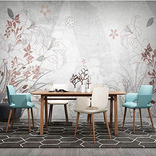 3D-behang van vlies, motief: Scandinavische planten, bloemen, geometrische lijnen, voor woonkamer, slaapkamer, achtergrond 300*210cm Lfvv-k573
