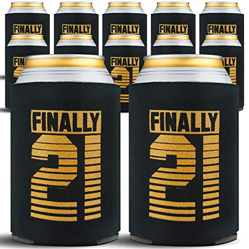 21st Birthday Decorations for Him - 21st Birthday Can Cooler Sleeves - 21 Year Old Party Decorations - 21 Birthday Gift Ideas for Men & Women, Drink Holders, 12-Pack, Black & Gold