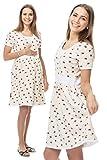GoFuture Damen Umstandsnachthemd Stillnachthemd 3in1 Cosy GF2353XA in Gelb (Creme) mit Marienkäfern Plus Weiß