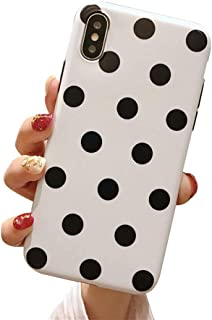 BONTOUJOUR iPhone XS Max Phone Case, Beautiful Art Polka Dot Pattern Serie Cover Case Soft TPU 360 Degree Good Protection- White Polka dot
