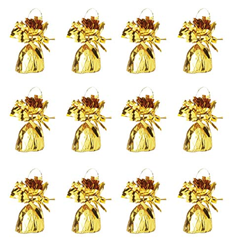 Beistle 50804 12-Piece GD Metallic Wrapped Balloon Weights, Gold