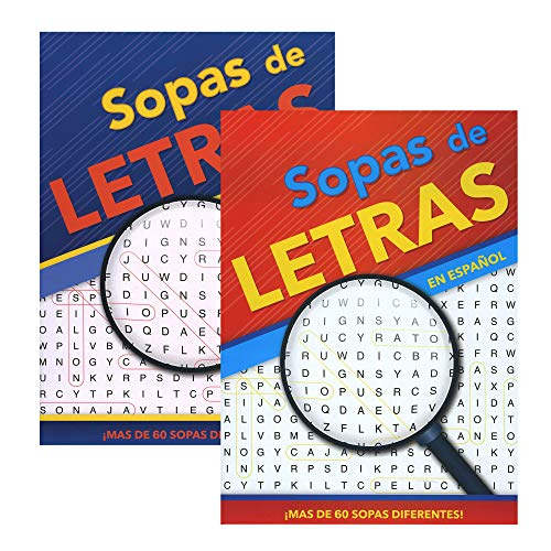 Crucigrama-Sopas De Letras IV, 2 Titles, Spanish Word Search Find Words Book, Word Finds for Adults Senior Teens, Training Learning with Game, 48-Pack