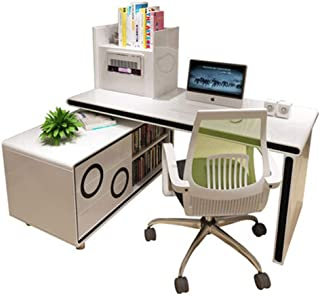 Home Life Computer Desk, Smart Air Purifier Table Bedroom Rotating Corner Desk Bookcase Bookcase Combination, white, a