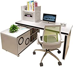 Simple Furniture& Home Life Computer Desk, Smart Air Purifier Table Bedroom Rotating Corner Desk Bookcase Bookcase Combina...