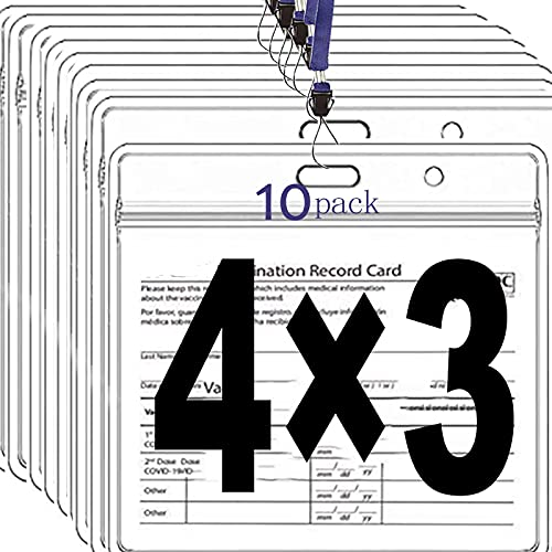 10 Pack CDC Vaccine Card Protector with Lanyard, 4x3 in Immunization Record Vaccine Cards Holder, Horizontal Badge ID Card Name Tag - Clear Plastic Sleeve with Waterproof Resealable Zip for Travel