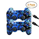 [2 Pack] Wireless Double Vibration Game Controller Bluetooth Sixaxis Gamepad Remote for PS3 Playstation 3...