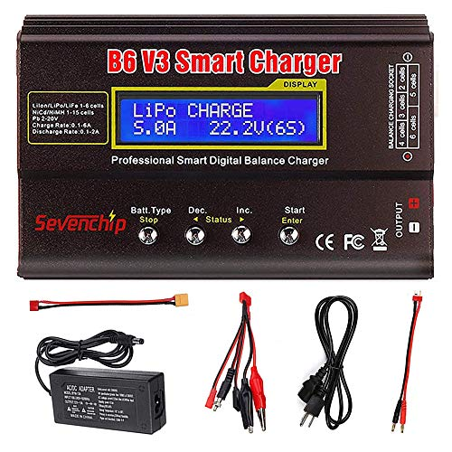 ICQUANZX B6 V3 Lipo Battery Charger 80W 6A RC Battery Balance Discharger for LiPo Li-ion Life NiCd NiMH LiHV Battery Balance Charger with AC Power Adapter