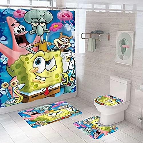 4 Pieces Bathroom Set Spongebob Shower Curtain Set with Bathroom Mat, Toilet Lid Cover, U Shape Rugs, Waterproof Shower Curtain Bath Accessories