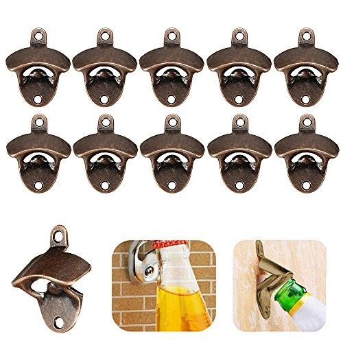 Keyohome - 10 abrebotellas de pared, montaje en pared, abrebotellas de bronce,...