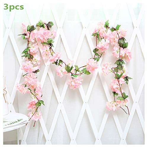 3Pcs Artificial Cherry Blossoms Hanging Rattan Garland Wreath Fresh Lovely of Fake Flower Plant Flower Vine Leaf for Home Party Garden Fence Christmas Wedding Decoration 220cm,D