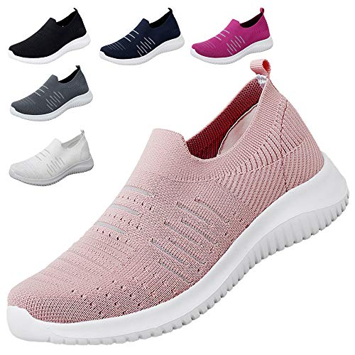 MAOGO Damen Sneaker Atmungsaktiv Laufschuhe Slip On Schuhe Freizeitschuhe Outdoor Sportschuhe (Rosa, Numeric_42)