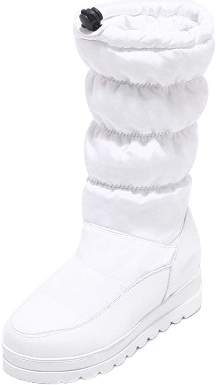 FANIMILA Women Height Increasing Snow Boots Mid Calf Winter Boots Warm Lining shoes