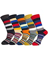 FULIER Mens Cotton Rich Smart Design Colorful Comfortable Dress Calf Socks 5 Pack UK 6-13 EUR 39-47