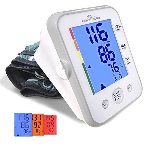 Digitales Oberarm Blutdruckmessgerät Easy@Home mit Großer Manschette, 3-Farben-Hypertonie-Hintergrundbeleuchtung und Pulsmesser, IHB-Anzeige, 2 Benutzer