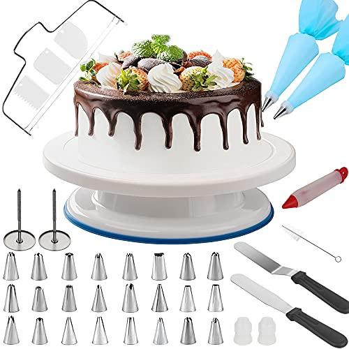 GRANDMA SHARK 11 Zoll Tortenplatte Drehbar mit 24 Paspelspitzen, 2 Blumennagel, Kuchenschneider und Verschiedene Kuchen Dekoration Kits