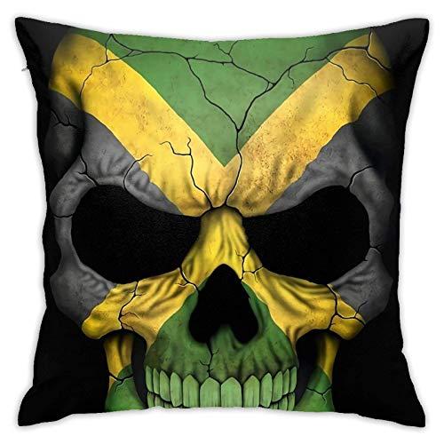 Hdadwy Bandera de Jamaica Bandera de Calavera Cremallera Oculta Sofá casero Funda de Almohada Decorativa Funda de cojín Cuadrado 18x18 Pulgadas Diseño de Dos Lados Funda de Almohada Impresa