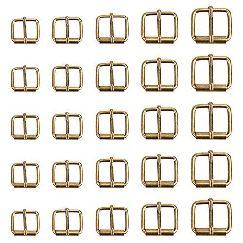 Coolty 75pcs Hebillas de rodillo de metal de bronce, hebilla para cinturón para bolsos, correa de piel, accesorios de bricolaje, 13 mm, 16 mm, 20 mm, 25 mm, 32 mm